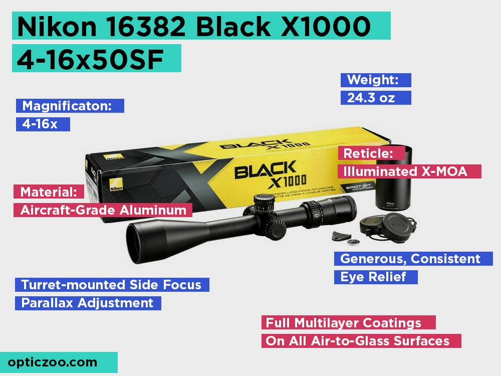 Nikon 16382 Black X1000 4-16x50SF Review, Pros and Cons