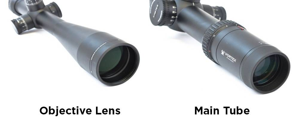 The key parts of a scope include objective lens and main tube