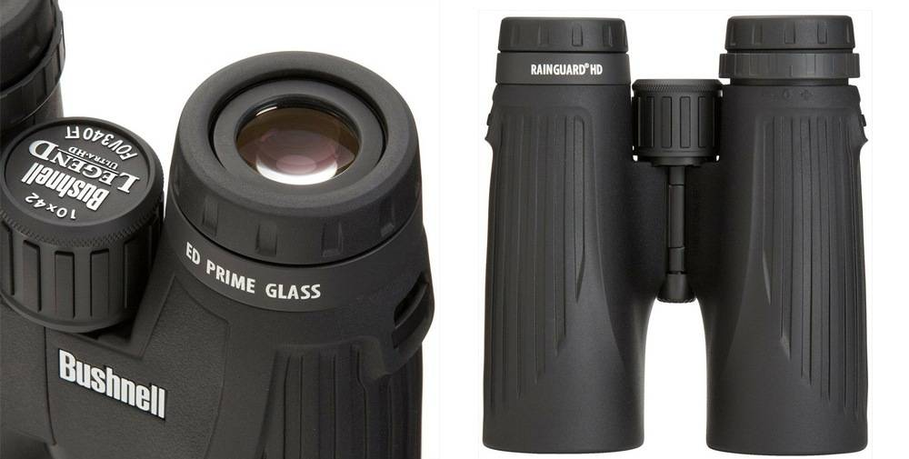 Bushnell 191042 Legend Ultra HD 10x42 has the RainGuard HD Water-Repellent Coatings and an ED glass