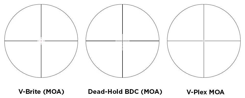 Vortex Optics Crossfire II 3-9x40 has V-Brite (MOA), V-Plex MOA, and BDC MOA reticles