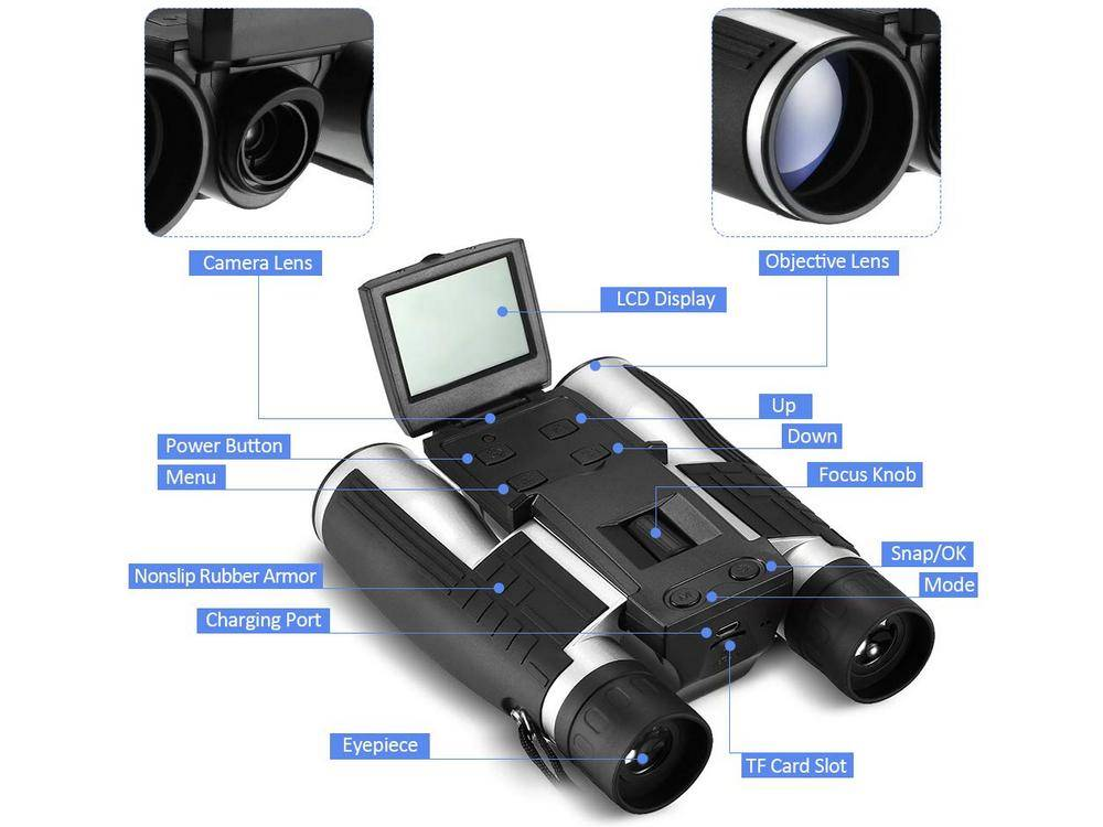 Main Features of Vazussk FS608R 12x32 HD digital camera binos