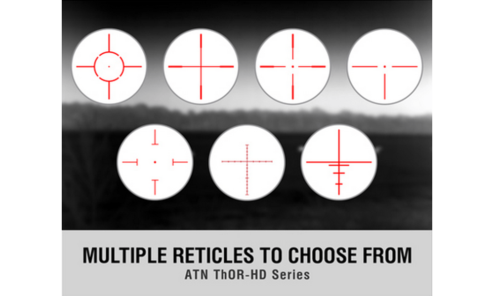 Most thermal scopes come with different reticle options to choose from