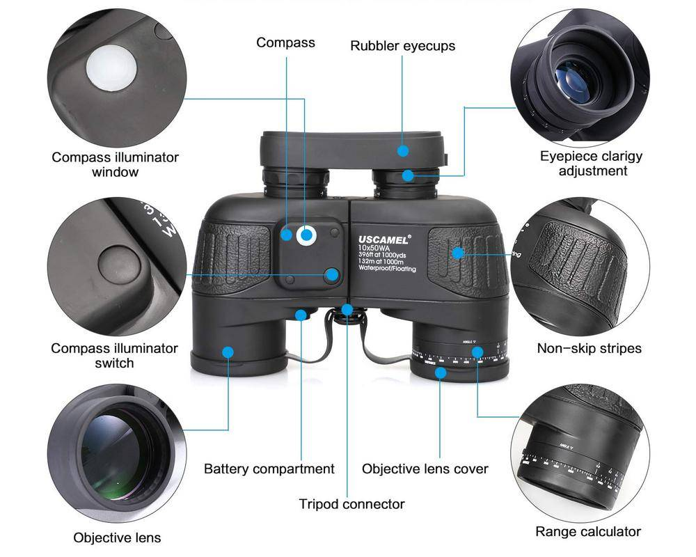 Product details of USCAMEL UW004-black Marine 10x50 Rangefinder Binocular