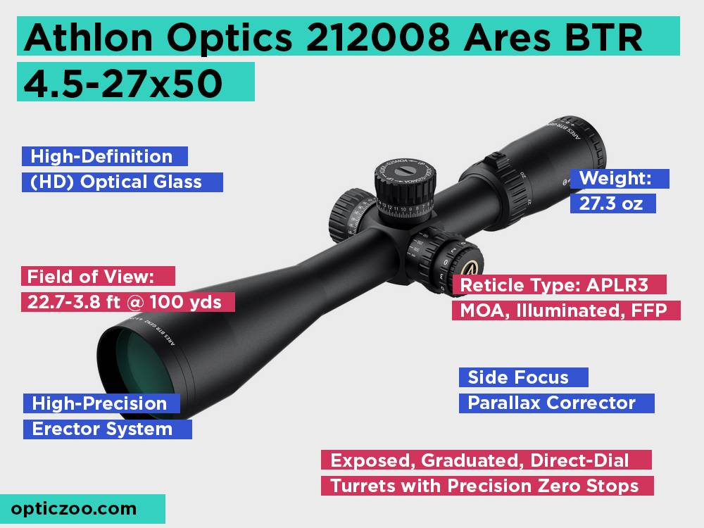 Athlon Optics 212008 Ares BTR 4.5-27x50 Review, Pros and Cons
