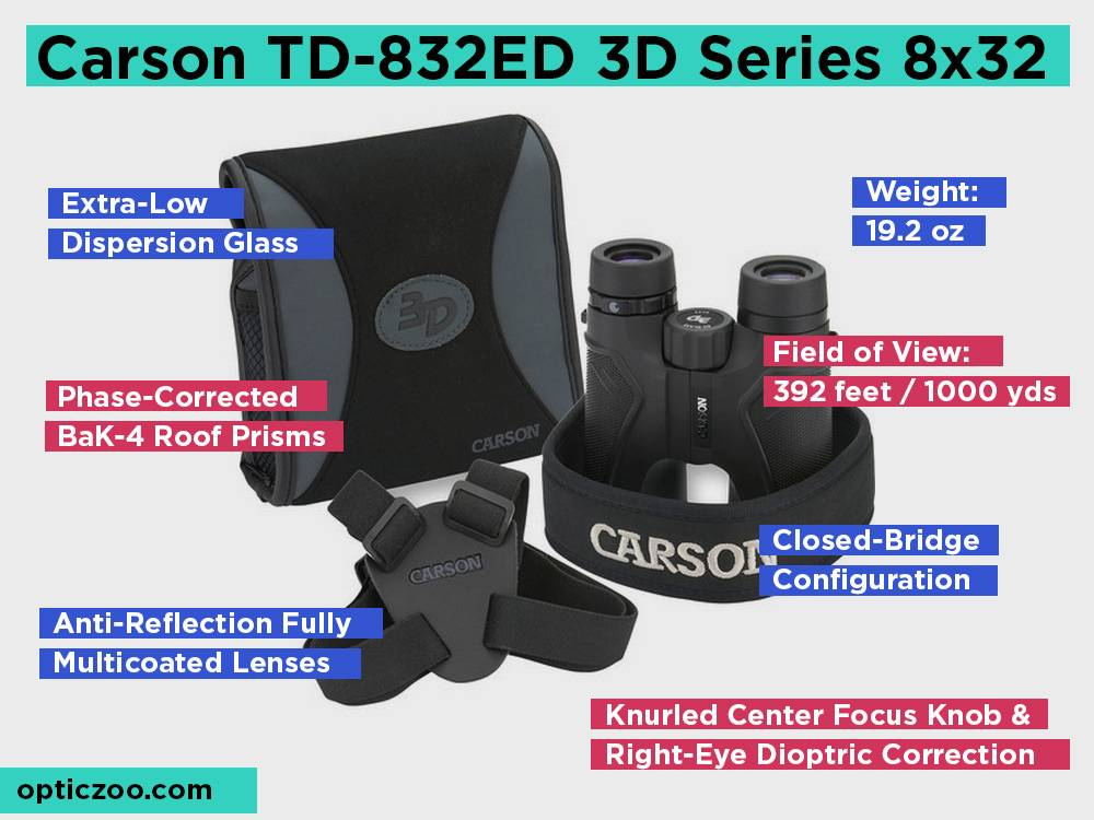 Carson TD-832ED 3D Series 8x32 Review, Pros and Cons