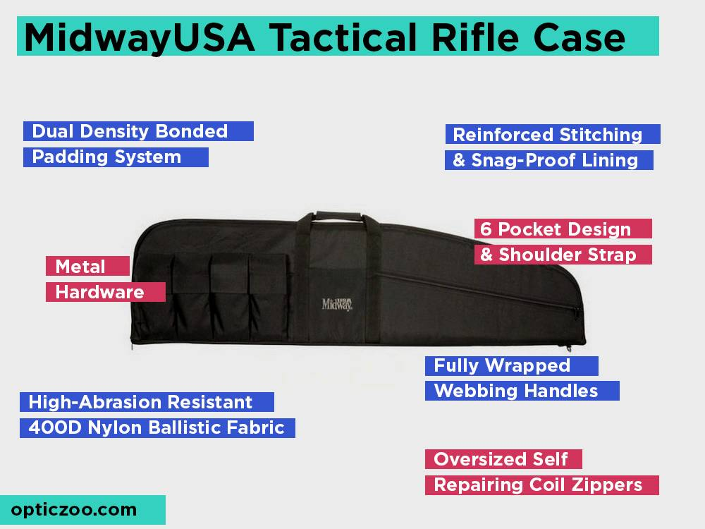 46 Inch Black MidwayUSA Tactical Rifle Case with 6 Pockets
