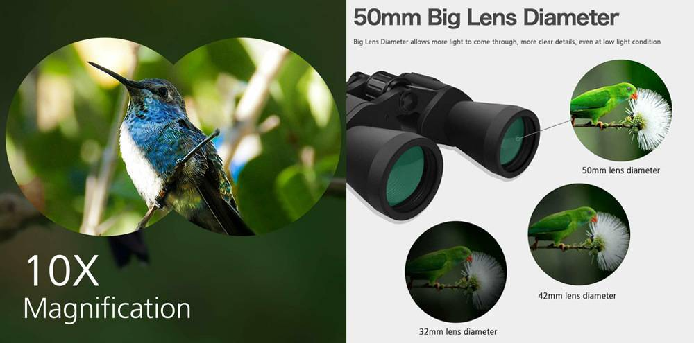 SkyGenius SKY 10x50 has 10X power magnification and 50mm large objective lens