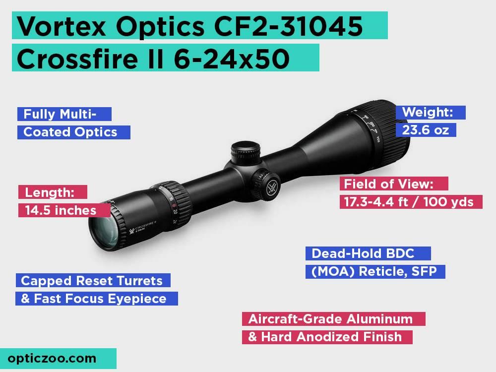 Vortex Optics CF2-31045 Crossfire II 6-24x50 Review, Pros and Cons