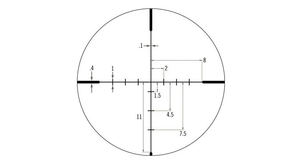 Vortex Optics CF2-31045 Crossfire II 6-24x50 has the Dead-Hold BDC (MOA) reticle