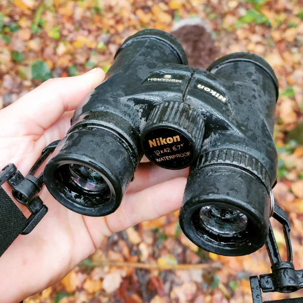 Binoculars are waterproof, fog proof, and shockproof